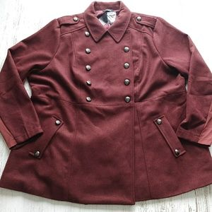 Torrid Coat Rust Red NWT Double Breasted Military